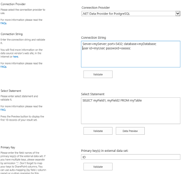 bdlc PostgreSQL Sharepoint Integration