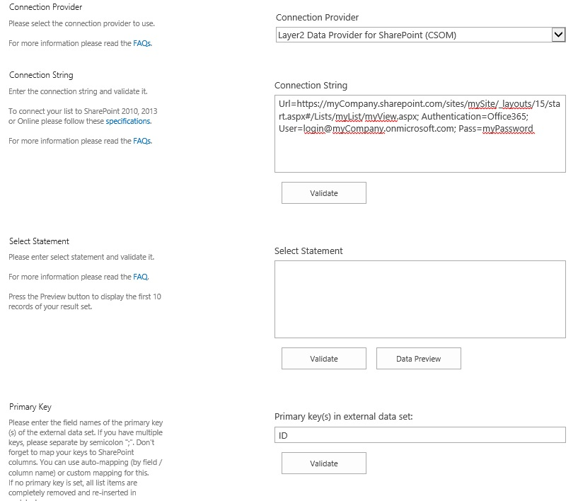 Configuration sample of Integration or Synchronization for SharePoint and Office 365