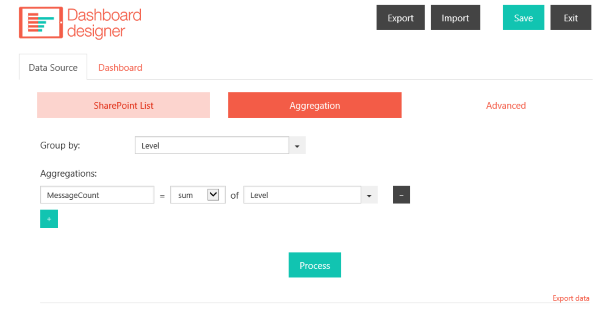Screenshot aggregation tab in plumsail dashboard designer