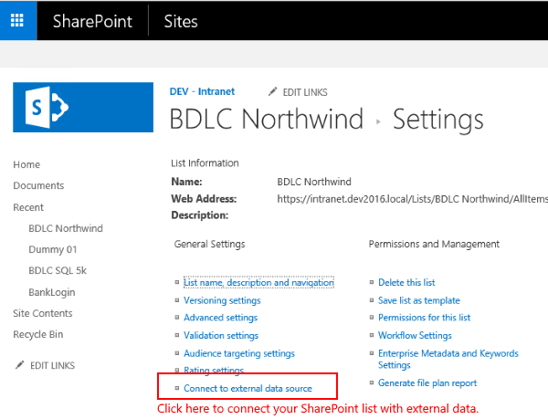 sharepoint external list settings