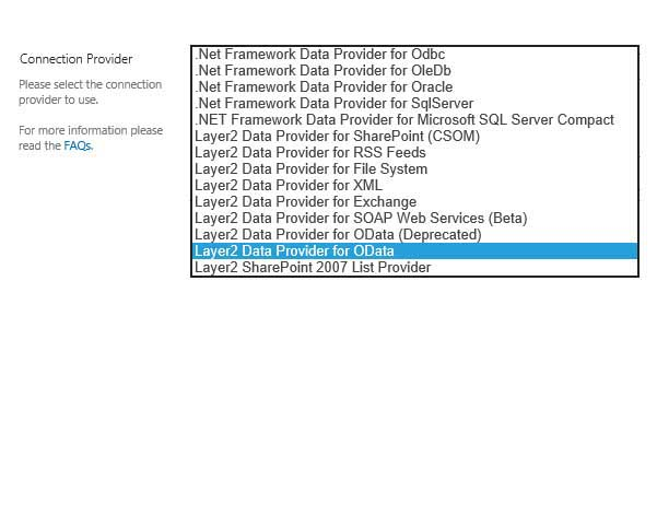 SharePoint Data Integration Select Data Provider Layer2