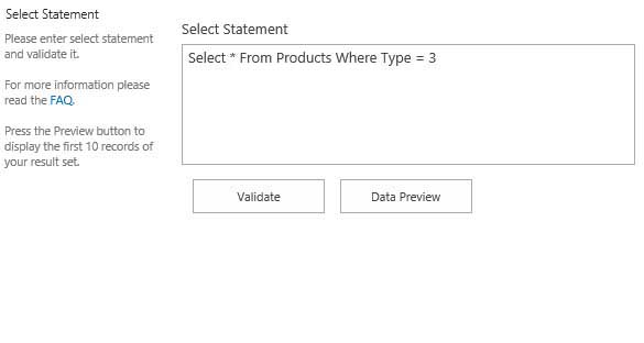 SharePoint Data Integration Select Data Set Layer2