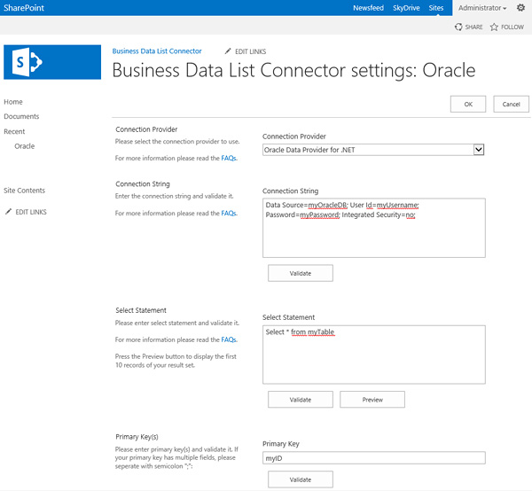 Oracle & SharePoint Integration settings in the Buisness Data List Connector