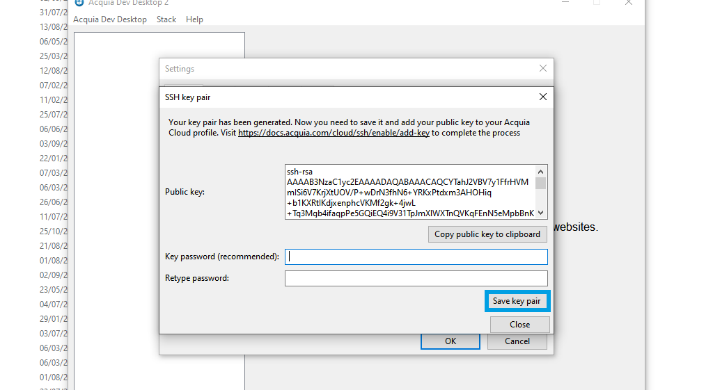 Acquia save key pair