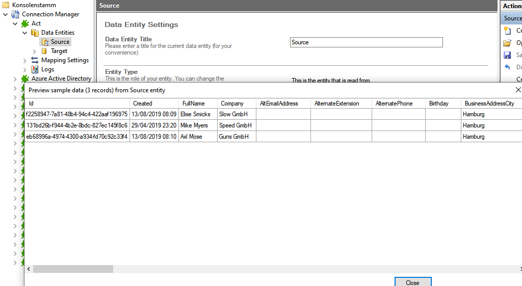 Preview data of ActCRM integration