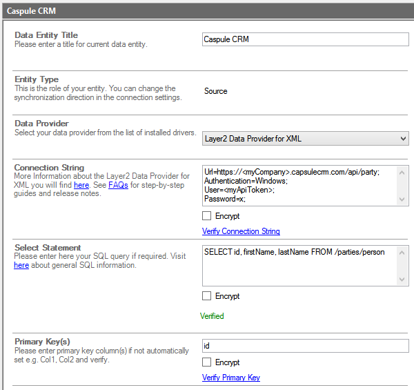 Capsule CRM Example for Integration