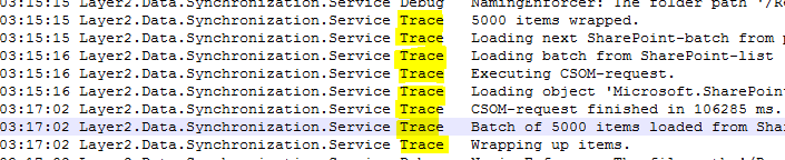 Example of trace messages in connection log file