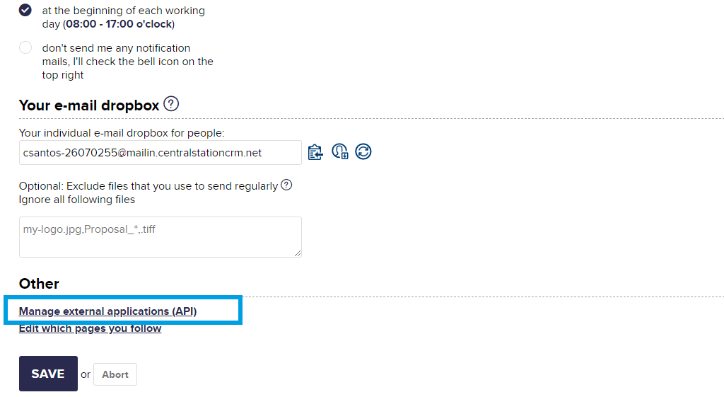 CentralStationCRM managing API