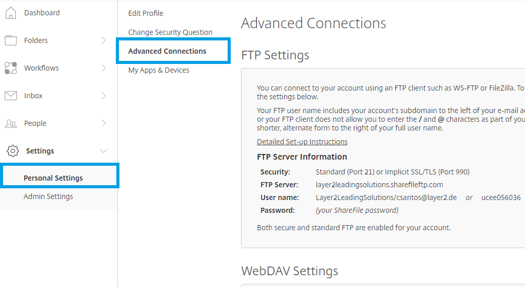 Citrix advanced connections