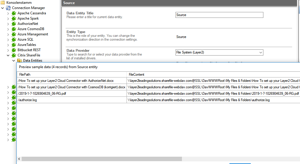 Preview data of Citrix ShareFile integration