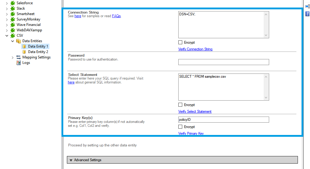 Step 2.5 CSV integration connection string setup.png