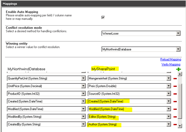 database sharepoint field mapping
