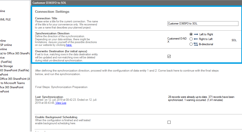 Connection setup for Finance and Operations in the Layer2 Cloud Connector
