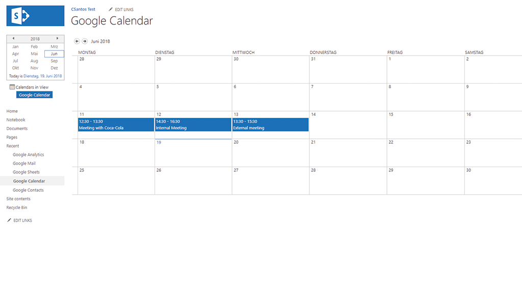 google calendar data in sharepoint