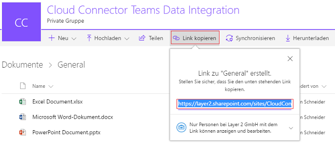 Screenshot: URL for the connection string