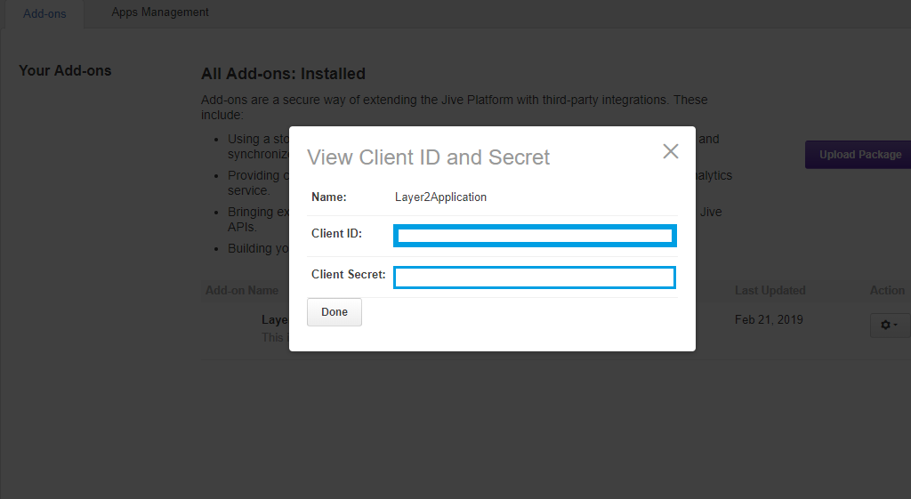 Jive generated client id and secret