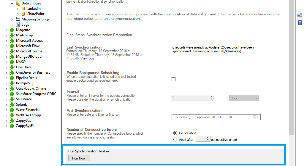 Step 5 LinkedIn data integration start