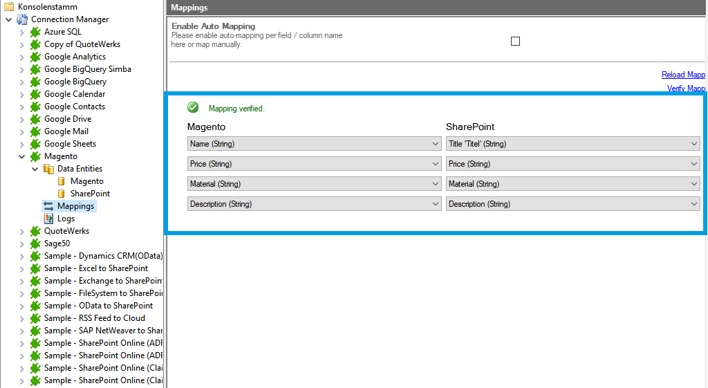 Step 4 Magento integration mapping