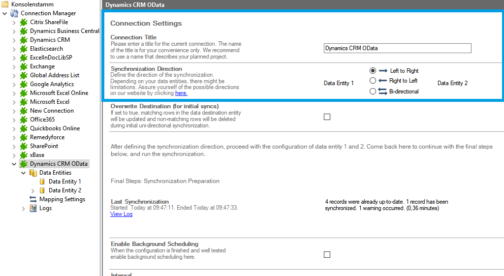 Step 1 Microsoft Dynamics CRM connection setup