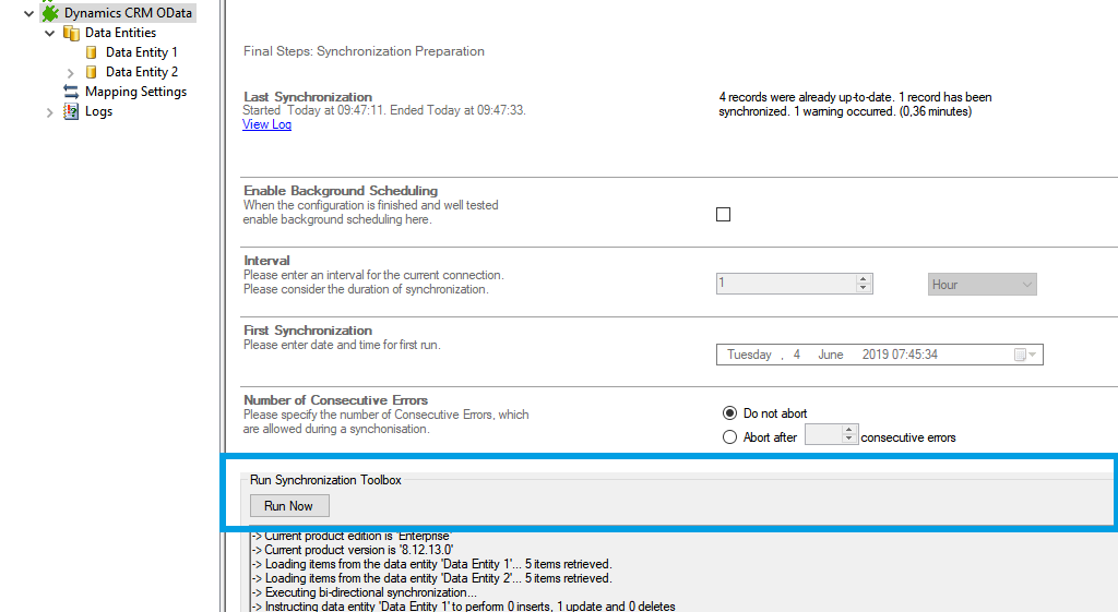 Step 5 Microsoft Dynamics CRM data integration start