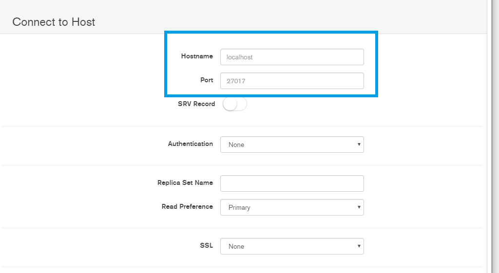 MongoDB connection settings