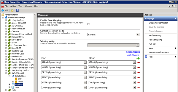 SAP and SharePoint field mapping sample