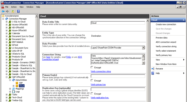 Example of SharePoint Online list configuration