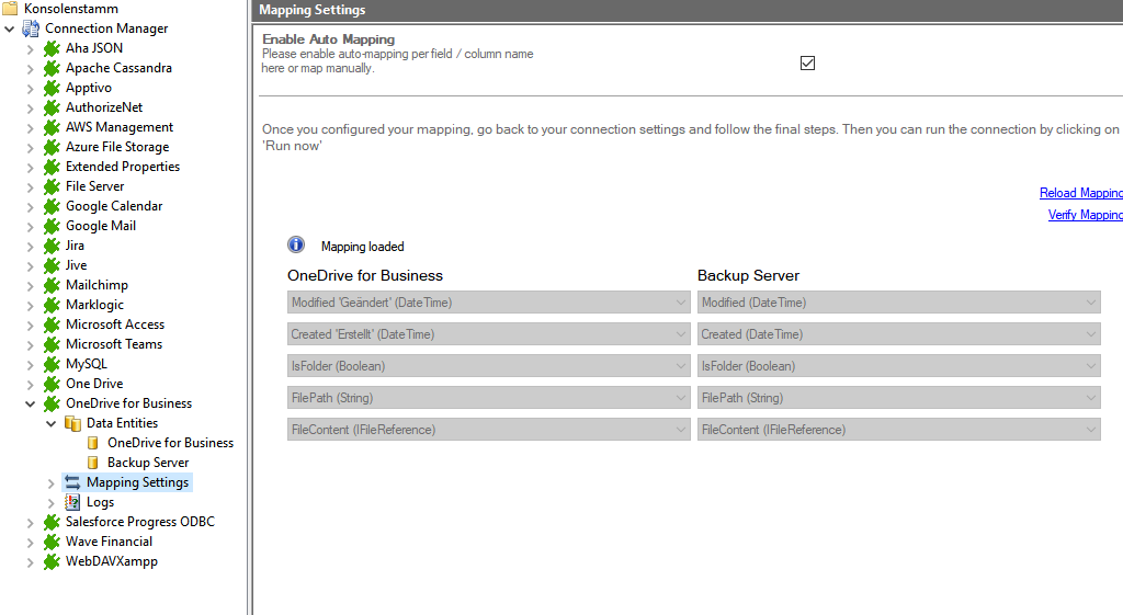 Step 4 OneDrive integration mapping