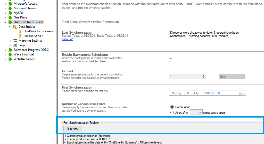 Step 5 OneDrive data integration start