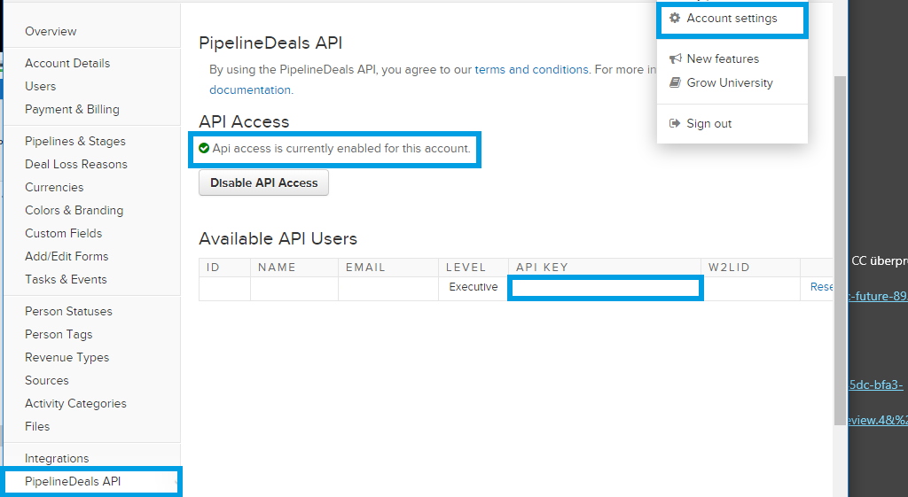 PipelineDeals API settings