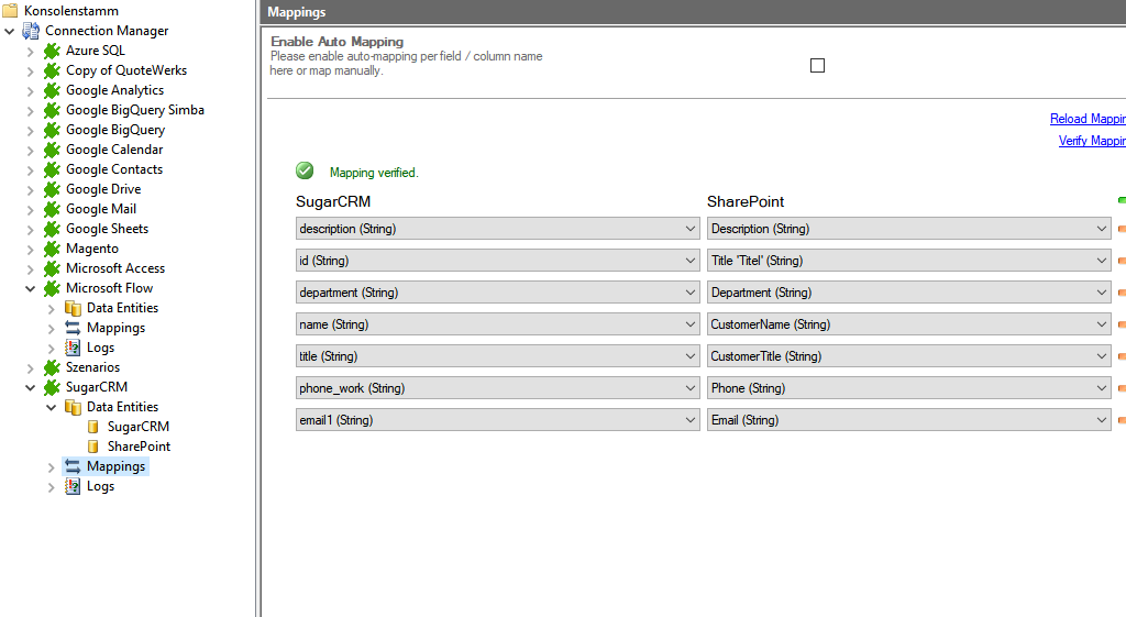 Mapping in the Layer2 Cloud Connector for sugarcrm data integration