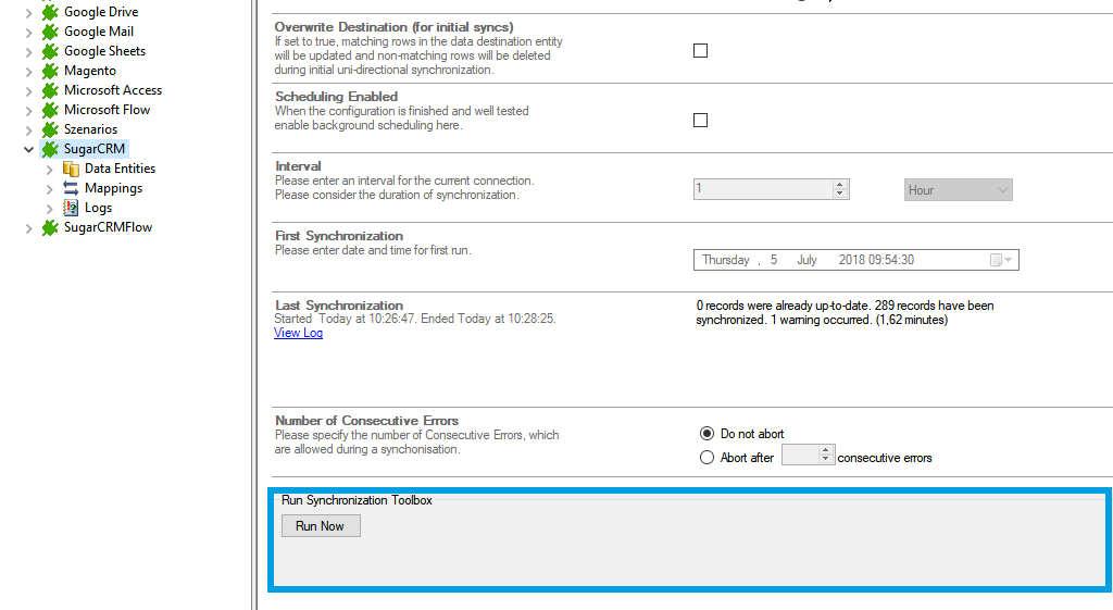Step 5 SugarCRM data integration start.png