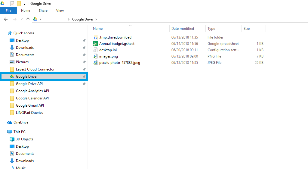 Example of Google Drive Data for the data integration with the Layer2 Cloud Connector