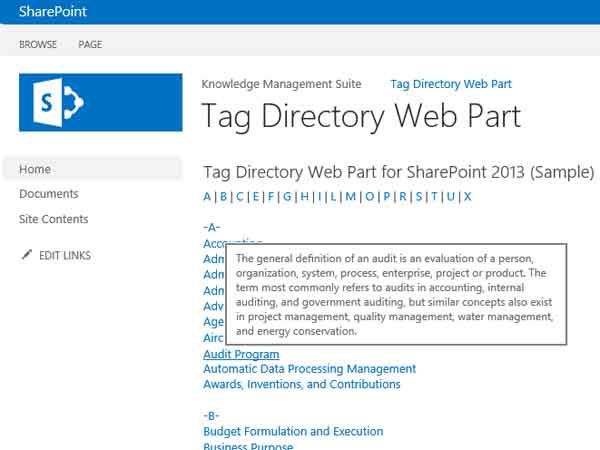 Layer2 Tag Directory Web Part for SharePoint