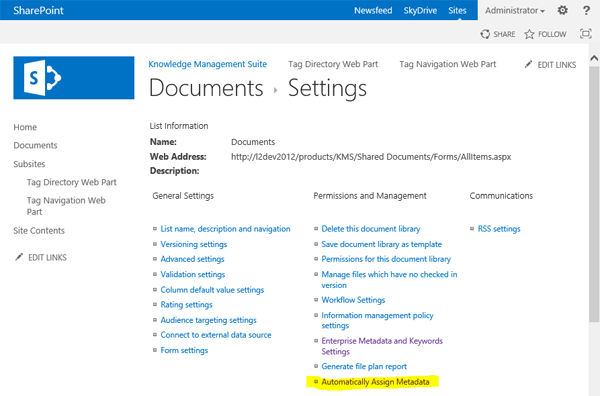 Configuration of  automatic metadata assignment in SharePoint library